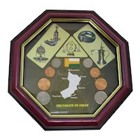 Sultanate of Oman Shadowbox With Coins & Metalwork