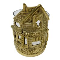 Brass Christmas House Votive Candle Holder With Glass Insert
