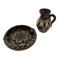 Brown & Blue Ceramic Miniature Jug and Ashtray Set