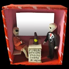 Vintage Day of the Dead Tiny Skeleton Bar Diorama