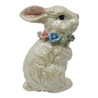 Midcentury Lusterware White Rabbit Figurine With Rose Wreath