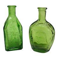 Miniature Green Glass Bottles (Set of 2)