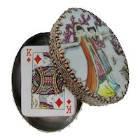 Mardi Gras Krewe of Sparta Silver-Plated Trinket Box With Miniature Playing Cards