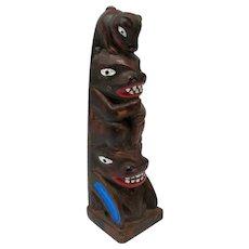 Miniature Alaskan Totem Pole Figurine