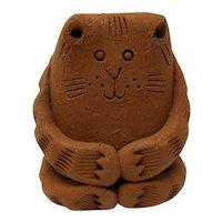 Chubby Terra-Cotta Cat Figurine