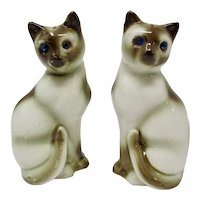 Siamese Cat Salt & Pepper Shakers With Jeweled Blue Eyes
