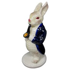 Large Porcelain White Rabbit Figurine With Pipe & Umbrella
