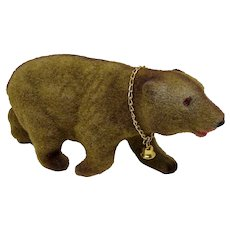1960s Flocked Brown Bear Coin Bank