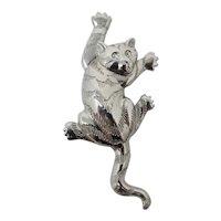 Mischievous Climbing Cat Brooch