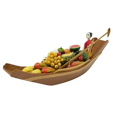 Thai Woman & Fruit Boat Figurine