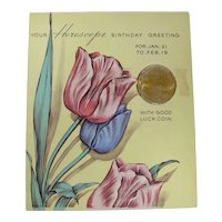 Rust Craft Early 20th Century Aquarius Horoscope Birthday Card & Lucky Coin