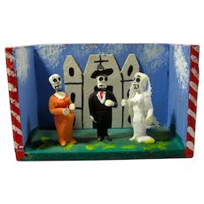 Vintage Day of the Dead Tiny Skeleton Wedding Diorama