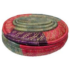 Hand-Woven Palm Basket With Lid From Mexico