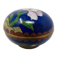 Cobalt Blue Floral Cloisonne Ring Box