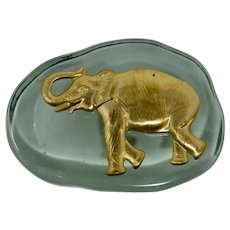 Green Glass & Brass Elephant Paperweight From South Africa