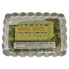 Manatee Crate Company Glass Paperweight From Manatee, Florida