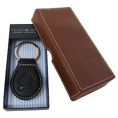 Tommy Hilfiger Crested Black Leather Key Fob With Leather Accessory Tray