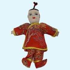 Chinese Fabric Boy Doll in Embroidered Silk Outfit
