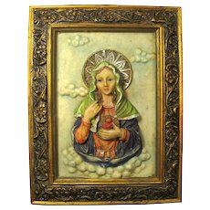 Vintage Stone/Resin Virgin Mary Wall Icon