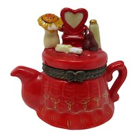 Miniature Teapot-Shaped Lady's Dressing Table Box