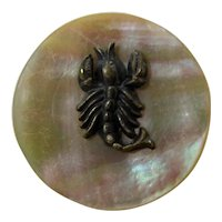 Early 20th Century Mother of Pearl Crawfish or Lobster Brooch