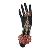 Red Rhinestone Butterfly Panja Bracelet With Ring