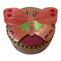Lacquered Bamboo Butterfly Trinket Box