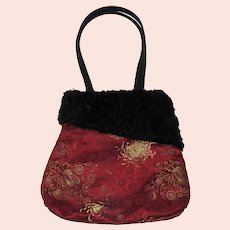 Black Faux Shearling & Red Brocade Handbag