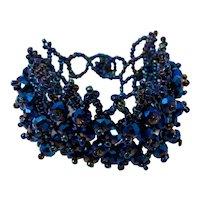 Dark Blue Carnival Glass Beaded Bracelet