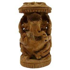 Ganesha Hindu Elephant God Miniature Sandalwood Carving