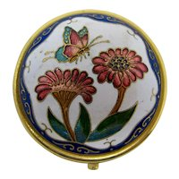Cloisonne Pill Box With Art Nouveau Style Butterfly & Flowers
