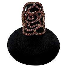 Red Rhinestone Filigree Rose Ring (Size 6.5)