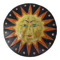 Balinese Hand-Painted Wooden Sun & Moon Plaque