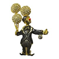 Vintage Pennywise The Clown Brooch With Pavé Rhinestone Balloons