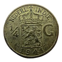 1941 Netherlands East Indies 1/4 Gulden Coin