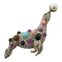 Acrylic-Jeweled Circus Seal Brooch
