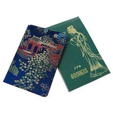 Unused Blue Silk Brocade Address Book From Shanghai, China