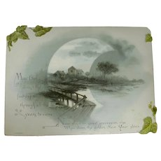 Early 1900s Happy New Year Card With Moonlit Scene