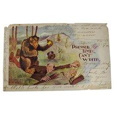 1906 Tammen Co. Novelty Bear Postcard Postmarked in Caddo Indian Territory, Louisiana