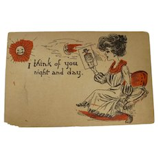 1907 I Think of You Night and Day Postcard Addressed to Caddo Indian Territory, Louisiana