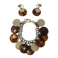Bergère Faux Tortoiseshell & Coin Bracelet and Earring Set