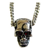 Red-Eyed Silver Skull Necklace