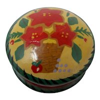 Small Hand-Painted Wooden Box With Poinsettia Pattern