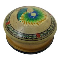 Small Hand-Painted Wooden Box With Peacock Pattern