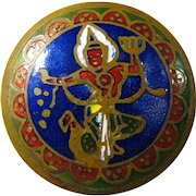 1940s Brass Pill Box With Cloisonné Shiva Design
