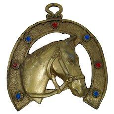 Jeweled Brass Good Luck Wall Horseshoe From Jerusalem