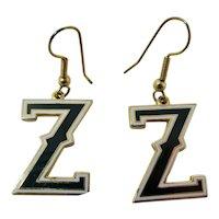 Letter Z Black & White Enamel Earrings