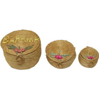 Woven Straw Nesting Baskets From The Bahamas (Set of 3)