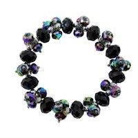 French Jet & Carnival Glass Stretch Bracelet