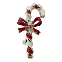 Tiny Red & White Candy Cane Christmas Brooch